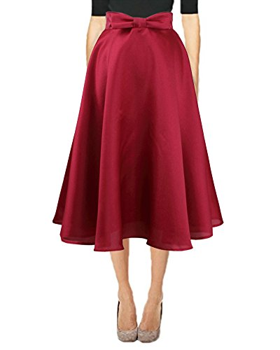 Quceyu Women Fashion High Waist Skirt A-Line Bow Pleated Midi Skater Swing Skirts (Red(Bow tie), (Ladies High Waist Fashion)