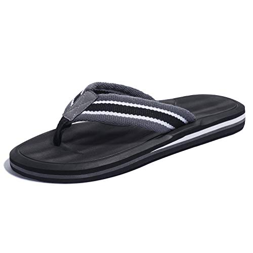 KRABOR Mens Flip Flops Comfortable Sandals Beach Thong Slides with Arch Support Size 7-13 Gray-Black ()