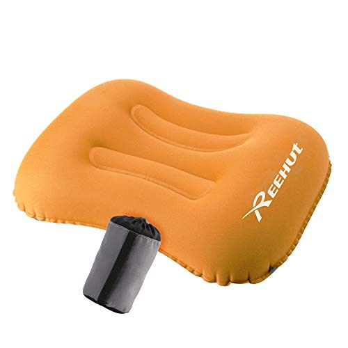 REEHUT Camping Pillow Ultralight, Travel Pillow Inflatable for Sleeping/Hiking/Backpacking - Included Storage Bag(Orange) (Pillow Inflatable)