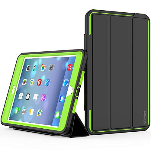 (SEYMAC iPad Mini 4 Case, Three Layer Drop Protection Rugged Protective Heavy Duty iPad Mini Stand Case with Magnetic Smart Auto Wake/Sleep Cover for iPad Mini 4 Smart Case(Black/Green))
