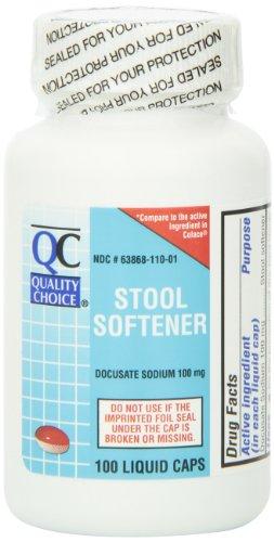 Qualité choix tabouret adoucisseur Docusate sodique 100 mg. liquide Cap 100 comte, bouteille en plastique (Pack de 4)
