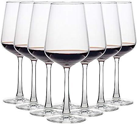 CREST Copas de Vino Tinto, 8 Piezas, 435 ML, Vaso de Cristal, Uso en Casa, Restaurante y en Fiestas