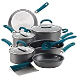 Rachael Ray 81123 Create Delicious Hard Anodized Aluminum Cookware Set, 11 Piece, Gray with Teal Handles
