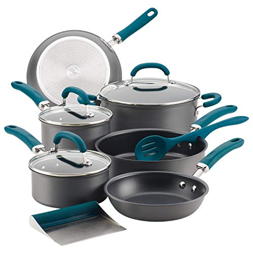 Rachael Ray 81123 Create Delicious Hard Anodized Aluminum Cookware Set, 11 Piece, Gray with Teal Handles ()