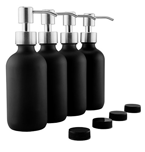 8oz Black Glass Bottles w/ Stainless Steel Pumps(4-Pack); Black Coated Boston Round Bottles w/ Spare Lids Too (Black Steel Stainless Glass)