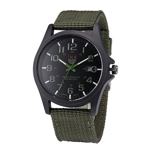 Vidlan Herren Datum Edelstahl Militär Sport-analoge Quarz-Armbanduhr-Armee,Grün