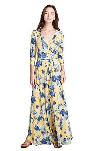 Tua USA 3/4 Sleeve Exotic Bohemian Print Stretch Knit Wrap Maxi Dress (Medium, Yellow Floral) (Print Dress Knit Bust)