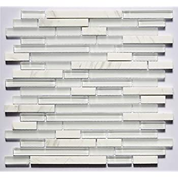 Glass Tile And Marble Blend White Glass And Stone