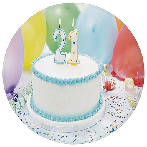 YOWAKi Round Rug Mat Carpet,21st Birthday Decorations,Legal Age of USA 21 Party Cake with Colorful Balloons,White and Light Blue,Flannel Microfiber Non-Slip Soft Absorbent,for Kitchen Floor Bathroom
