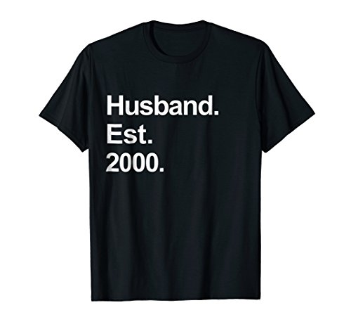 Mens 18th Wedding Anniversary Gifts - Husband Est 2000 Shirt by Awesome Husband and Wife Wedding Couples Shirts (Image #2)