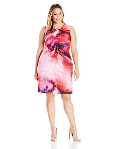 Julia Jordan Women's Plus Size Floral Shift Dress, Fuchsia Multi, 24W by Julia Jordan
