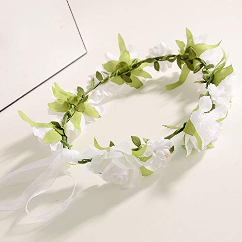 Boho Floral Flower Girl Bride Hairband Head Band Wedding Beach Holiday Garland (Color - White) ()