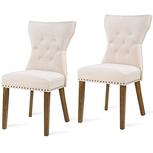 Harper Bright Design Dining Chair Tufted Upholstered Aceent Chair with Solid Wood Legs, Set of 2 (Beige) (Chairs Velvet Dining Upholstered)