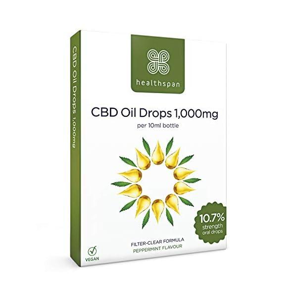 Healthspan Ultra Strength CBD Oil Drops, 1,000 mg, Delicious Mint Flavour, 10 ml, Vegan