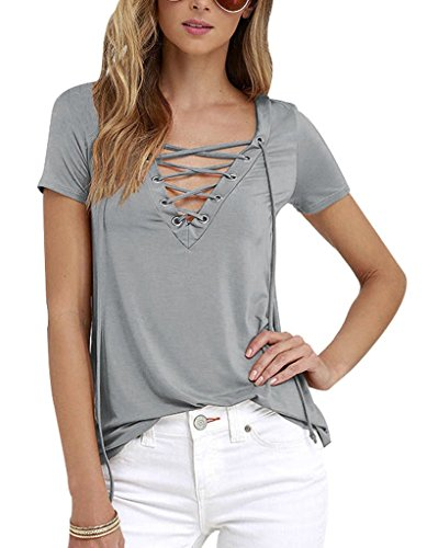 Sumtory Women's Sexy V Neck Bandage Short Sleeve T Shirt Tops – Small, Grey