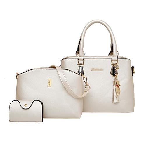 Dexinx Signore Eleganti PU Charme Sacchetti di Tote in pelle Shopping Shoulder Bag Exquisite borsa Set di 3 pezzi Bianca