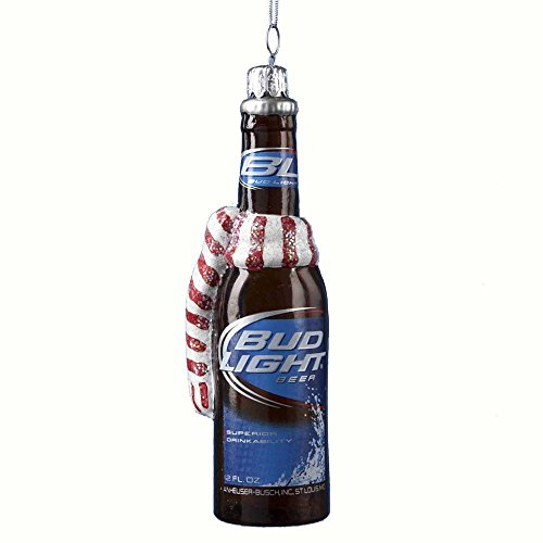 Budweiser Glass Bud Light Beer Bottle with Scarf Ornament, 5-Inch ()