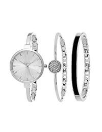 SO & CO New York Women's Madison Ultra Slim Bangle Set Watch with Silver Dial and Silver Band