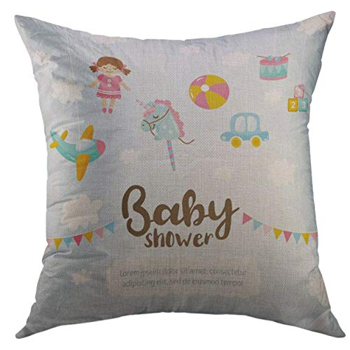 (Mugod Decorative Throw Pillow Cover for Couch Sofa,Cute Amazing Kids Toy Aircraft Doll Unicorn Ball Little Car Drum Blocks Hand Lettering Place for Text Home Decor Pillow Case 18x18 inch)
