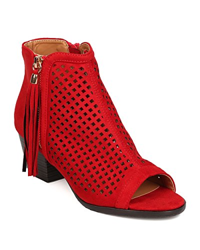Nature Breeze FA66 Women Faux Suede Peep Toe Perforated Chunky Heel Bootie - Red