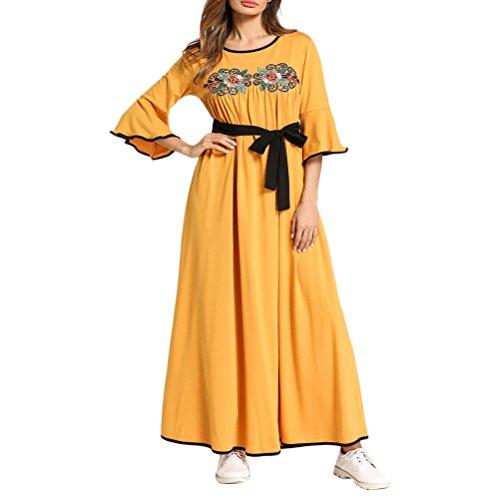 Túnica Style Chic Fiesta Vestido Dress de Abaya Ladies Noche para Girls Vestidos Zhhlinyuan Maxi Mujeres Kimono Casual Kaftan SR04Ww