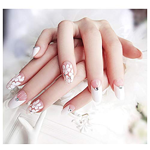 Drecode False Nails Bling Rhinestone Flower Nail Tips Fake Nails Wedding Birday Party Acrylic Nails for Women and Girls