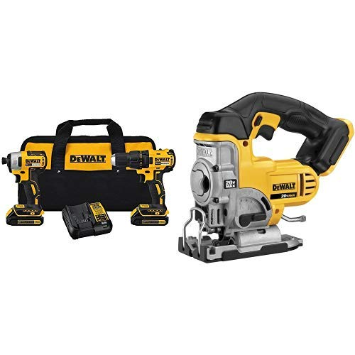 DEWALT DCK277C2 20V MAX Compact Brushless Drill and Impact Combo Kit with DCS331B 20-Volt MAX Li-Ion Jig Saw  (Tool Only) ()