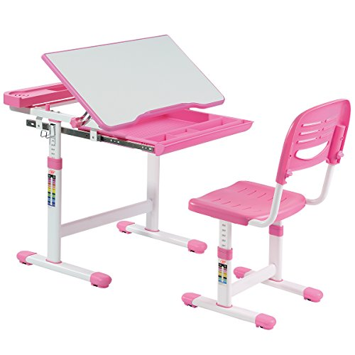 Set Desk Chair (Costzon Kids Desk and Chair Set, 0-40 Degree Table Top Adjustable Tilt for Painting, Spacious Pull Out Drawer, Height Adjustable, School Study Workstation for Children (Pink))