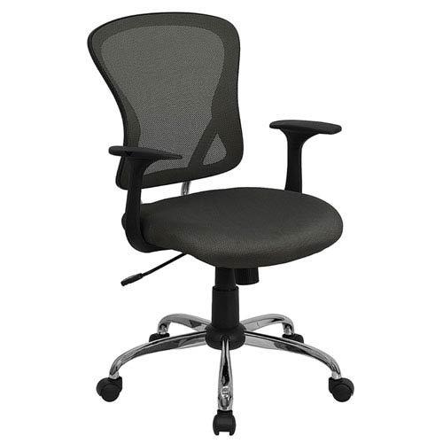 Parkside Mid-Back Dark Gray Mesh Swivel Task Chair with Chrome Base