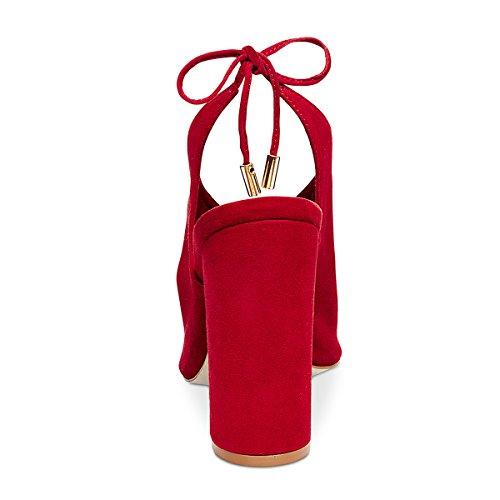Block tie Red Slingback Toe Peep Sandals Heel Self Joogo High V Lace Velvet Synthetic Women Shape 4q1nBPx