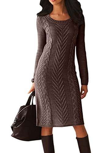 Dearlove Women's Casual Long Sleeve Crew Neck Loose Cable Knit Pullover Sweater Bodycon Pencil Midi Dress Knee Length Solid Brown M 8 10