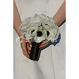 Simple Modern White Anemone Poppy Wedding Bridal Bouquet 1