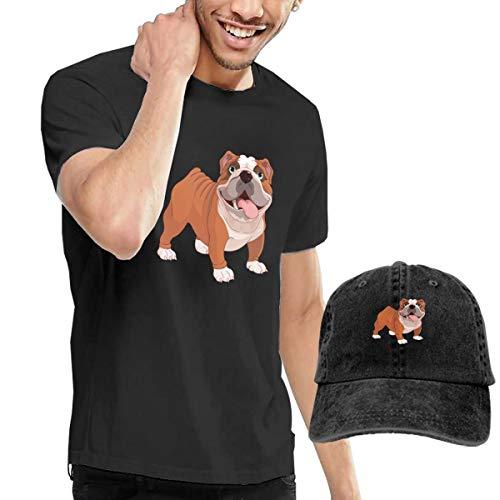 Xuforge Cute Pet Bulldog Men Short Sleeve T-Shirt and Adjustable Baseball Cap Costume Set -