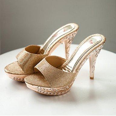 LvYuan Mujer-Tacón Stiletto-Confort-Sandalias-Oficina y Trabajo Vestido Fiesta y Noche-PU-Negro Oro Plata Gold