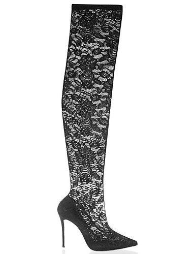 Moda Puntiagudos us8 Noche la uk6 Oficina Fiesta Stiletto y Trabajo Encaje y black Zapatos 5 mujer Botas Botas de cn40 eu39 Boda XZZ 5 Tacón a Semicuero 8STzXx17qw