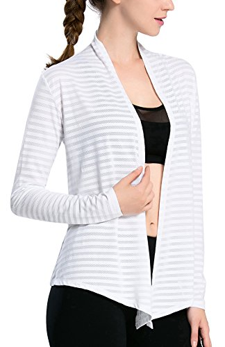 (Fastorm Women's Open Drape Cardigan Casual Long Sleeves Sweater(Petite Size) White M)