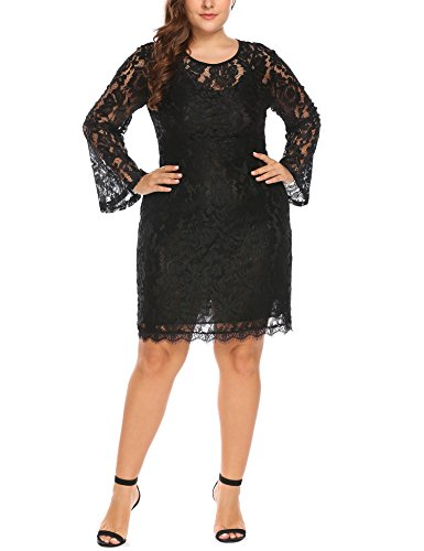 182e5751616 In voland Women s Plus Size Elegant Flare Long Sleeve Lace Bodycon Cocktail  Party Dresses