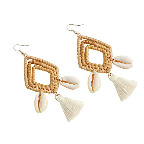 Outeck Women Bohemian Earrings Rattan Geometric Rhombic Hollow Ethnic Tassel Dangle Earrings For Girls (Beige) ()