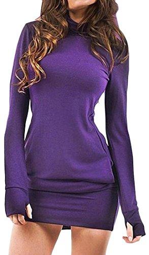 Cruiize Womens À Long Sweat Automne Hiver Solide Manches Robe Moulante Violette