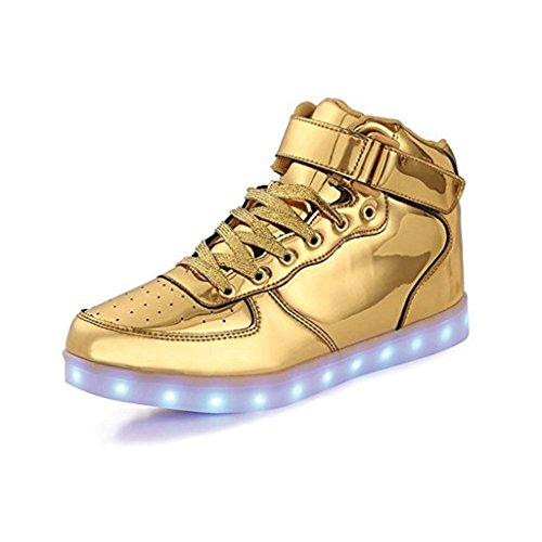 TechHype 7 Color LED Luminous Unisex Mid Top Sneakers USB Charging Light Colorful Glowing Flashing Shoes