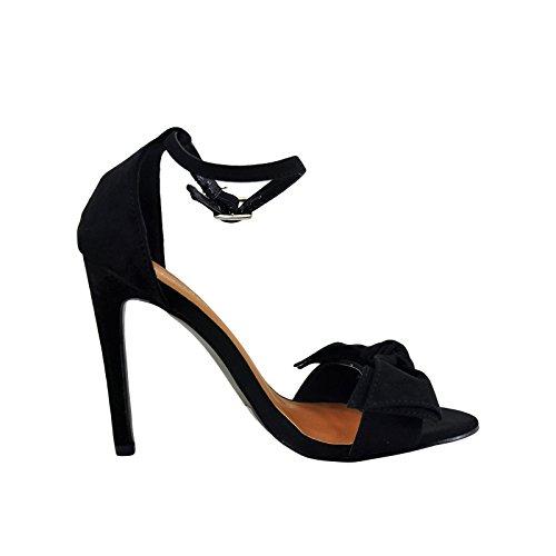 Bow Tie Open Toe (Bonnibel Bow 1 Bow Tie Open Toe Ankle Strap Heel (9, Black))