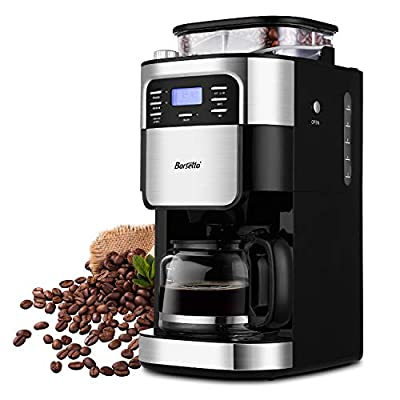 10-Cup Programmable Coffee Maker with Timer mode and Auto-off Function, Grind Coffee Machine with Removable Filter Basket, Stainless Steel