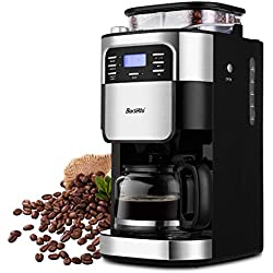 10-Cup Programmable Coffee Maker with Timer mode and Auto-off Function, Grind Coffee Machine with Removable Filter Basket, Stainless Steel (Grey)