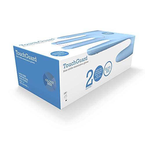 TouchGuard - Guantes de nitrilo azules desechables sin polvos ni latex, caja de 200 unidades, grandes