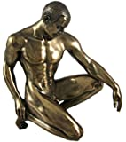 Bronzed Finish Kneeling Nude Male Statue Sculpture