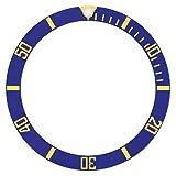 BLUE GOLD FONTS BEZEL INSERT ALUMINUM FOR FIT ROLEX SUBMARINER 16808-2