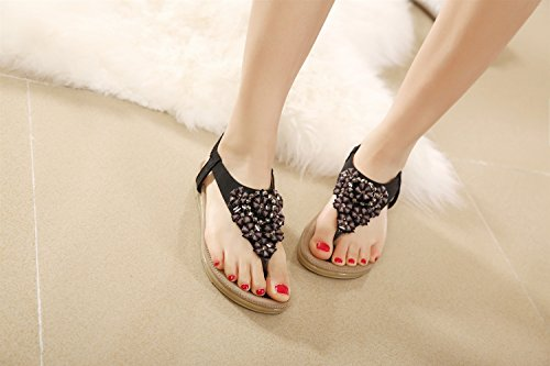 Plana Boho Mujer Zapatillas Sandalias Imitación Dulce de Zapatos Mujeres Las Mujer de de Negro XIAOQI de Moda de Diamantes Vacaciones Femeninas Flor de Tanga Playa Verano de gIqTT7