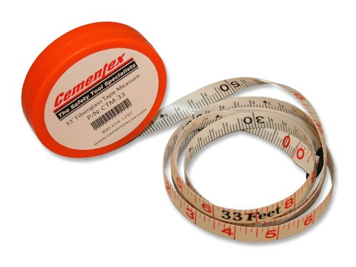 Cementex Ctm-33 33 Foot Fiberglass Tape Measure (Fiberglass T-handle Cable)