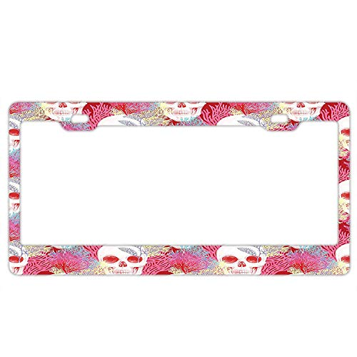 - Pulongpoq Unique Popular Design Plate Frame Custom Double Exposured Graphic Mexican Skull Bones and Exotic Creepy Dead Icon with Plants License Plate Metal Car Tag 12 x 6 Inch