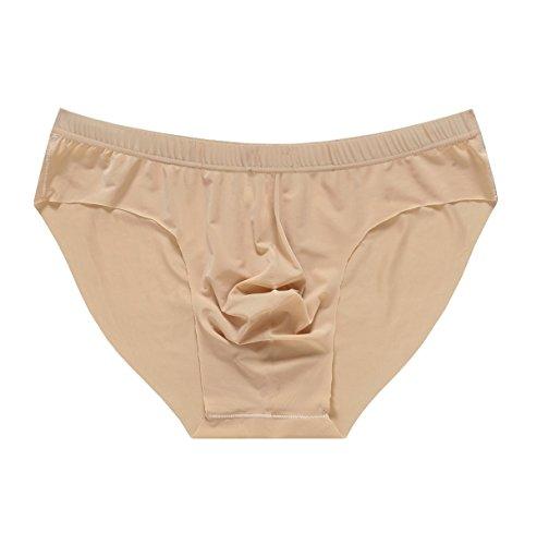 - Yateen Mens Traceless Underwear Ice Silk Briefs Khaki Medium